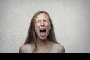 woman desperate screeming