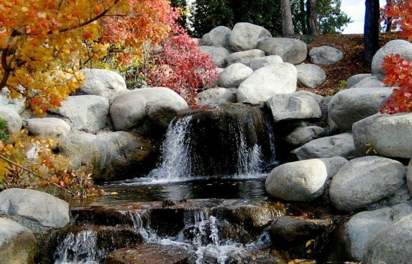 small waterfall in a zen garden