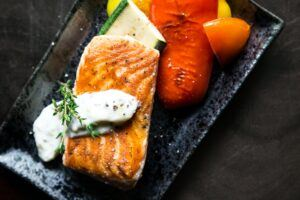 The Benefits of a Ketogenic and Paleo diet- yummy and healthy, Salmon and vegetables, peppers on the grill