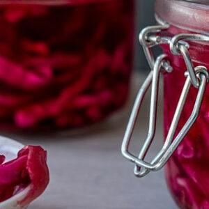 fermented cabbage in a jar